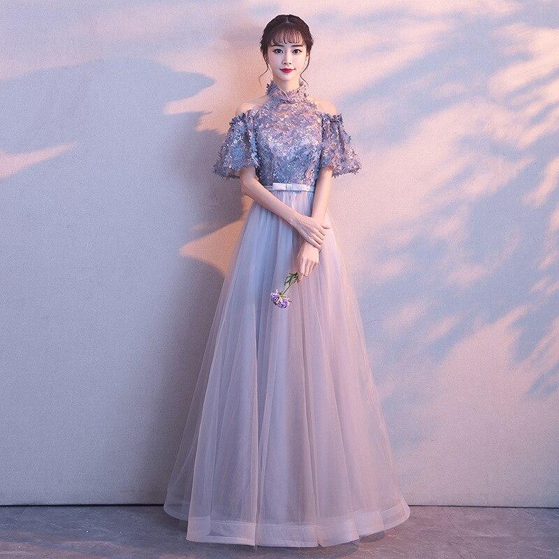 Robe de soirée 2019 nouveau banquet princesse sexy entreprise réunion annuelle hôte femme auto-culture élégant long