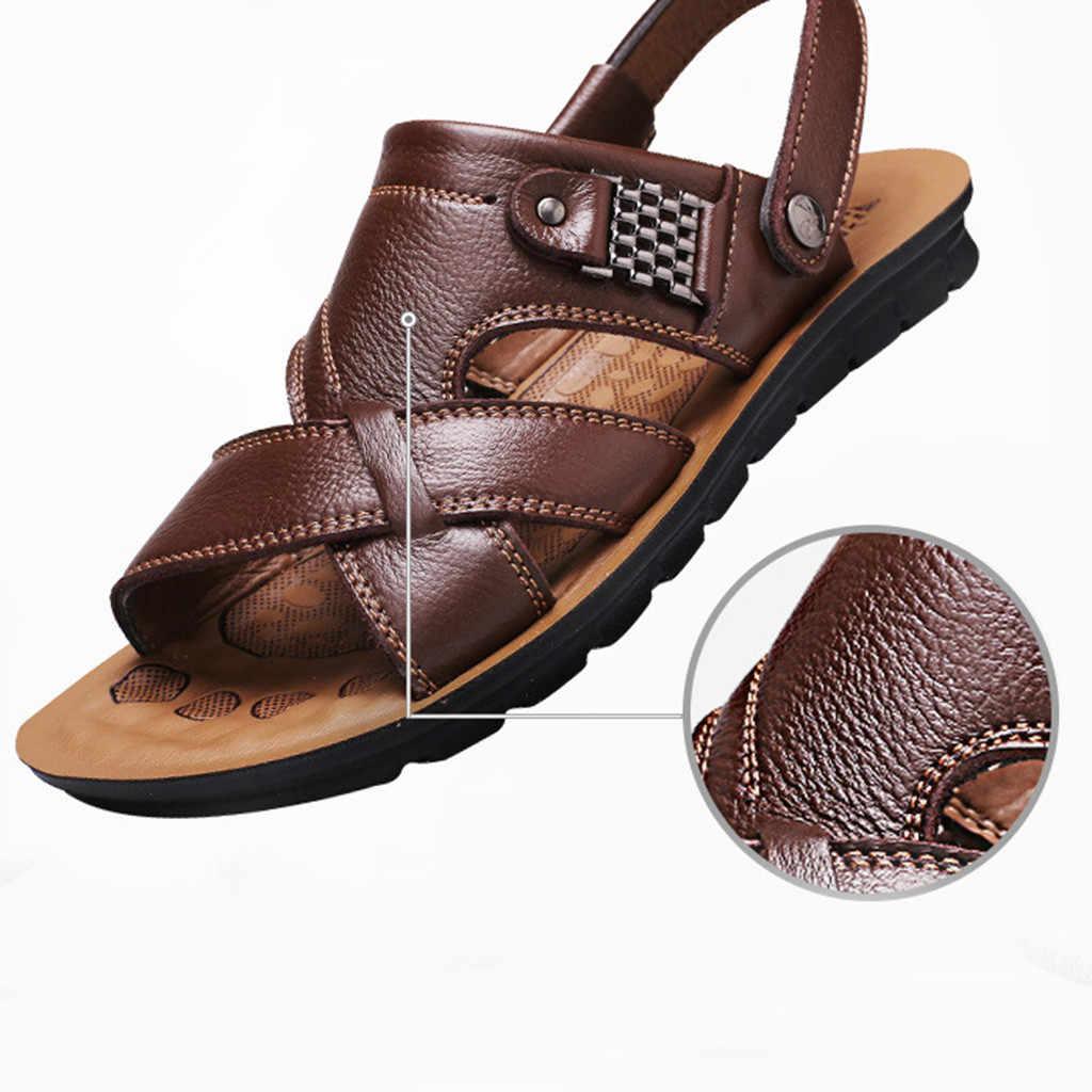 2019 dos homens super leve verão respirável sandálias de couro sandálias de praia slide sapatos de couro moda respirável calçados masculinos