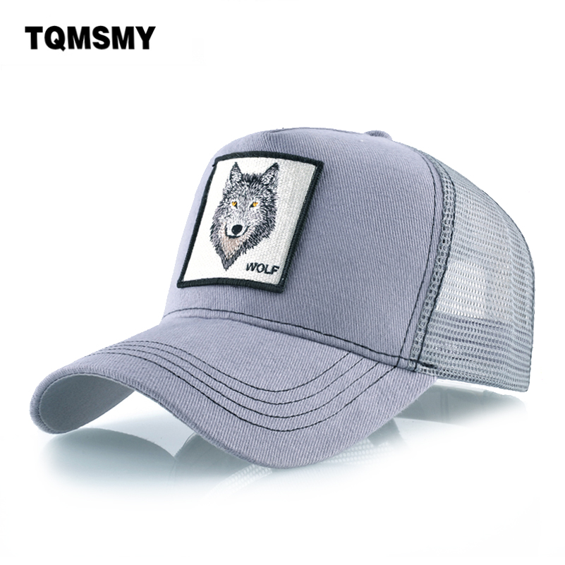 Cotton Snapback caps for mem Breathable Mesh Baseball Cap women Wolf Embroidery Hip Hop Hat Women's Sun visor Bone summer Gorras