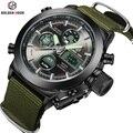 Moda Cool Men Watch Militar Do Exército Da Lona Cinta Horas Aço 30ATM Cronómetros Sports Casual LED Relógio Digital À Prova D' Água