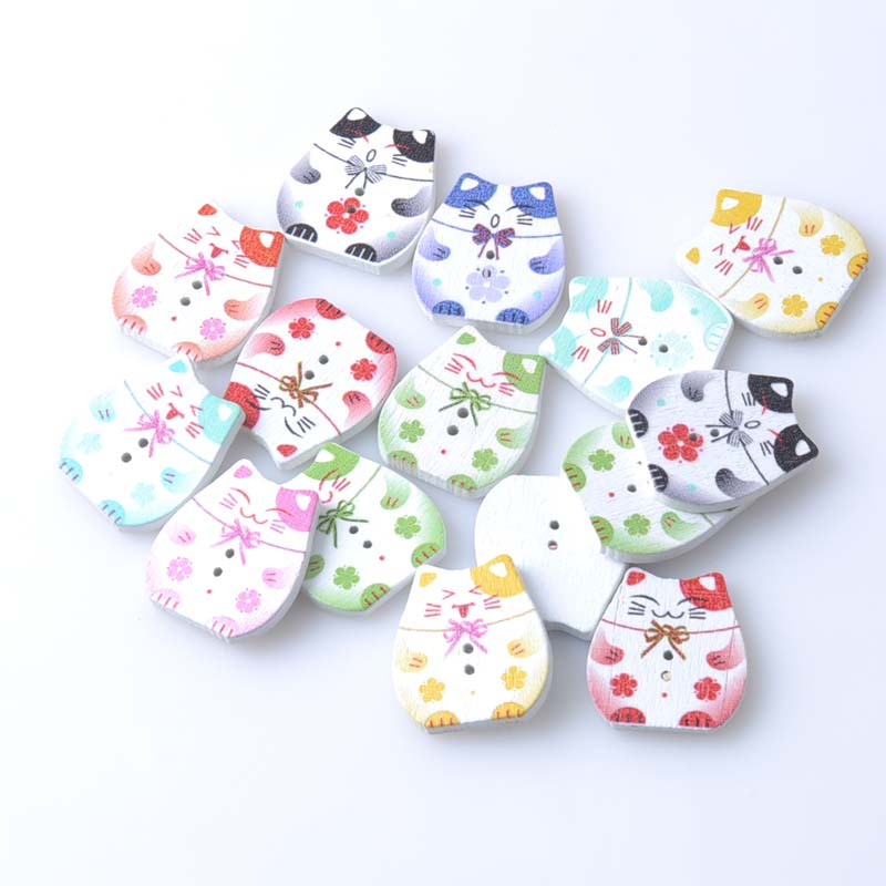 Lovely fat cat wooden buttons random mixed scrapbooking for Sewing and craft supplies