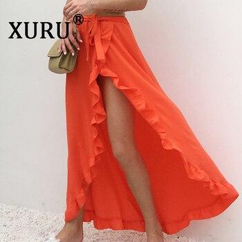XURU best selling new ruffled lace-up skirt sexy high cross open holiday beach irregular