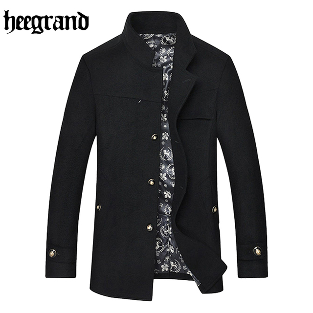 Hee grand 2017 inverno lã & blends homens moda causal jacket turn-down collar único breasted cashmere casaco mwn275