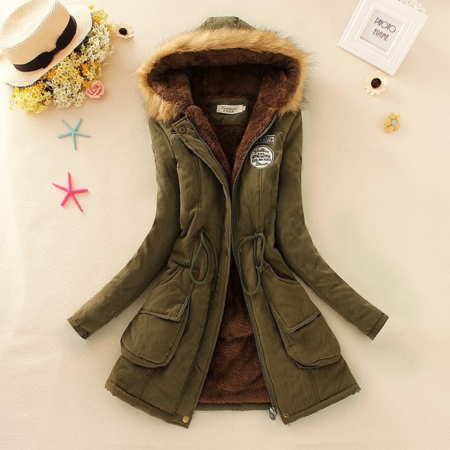 Women Thick   Parkas   Army Green Pluse Size 3XL Female Outwear Coat Long Lady Jacket