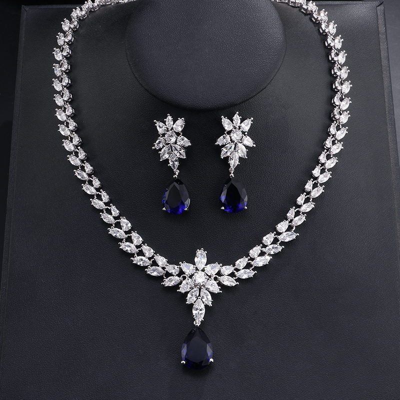 UILZ Classic White Gold Flower Shape Jewelry Set Marquise & Teardrop Cubic Zircon Earrings And Necklace For Women Wedding US062 a suit of stunning rhinestoned ball shape necklace and earrings for women