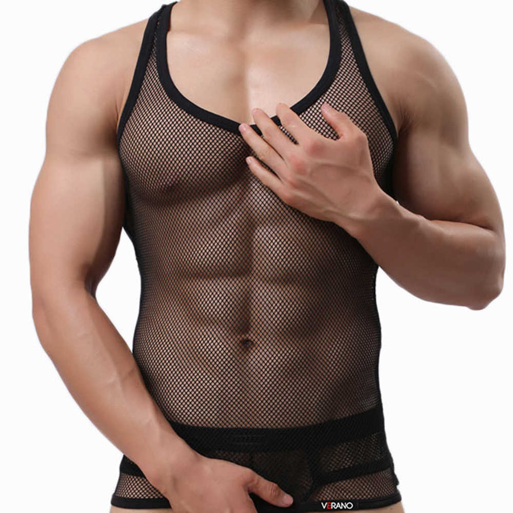 Sexy Men Singlet Transparent Undershirt See Though Sleeveless Shirt Breathable Bodybuilding Fitness Vest Tank Top Men Mesh