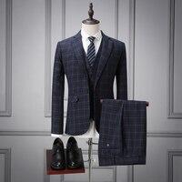 wuzhiyi 3 Pieces men suti Wedding Suit Man Custom made mens suits wedding groom costume homme mariage 2017 plus size Suit men