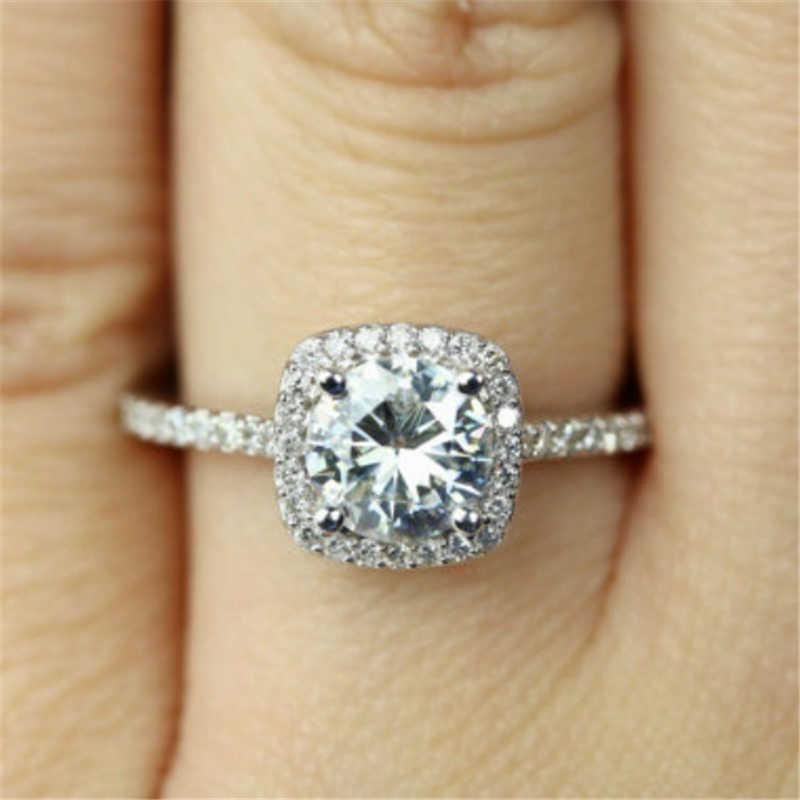Mling คลาสสิกหมั้นแหวน AAA White Cubic Zircon แหวนหญิงแหวนแต่งงานแหวนเงินเครื่องประดับ anelli donna ED5
