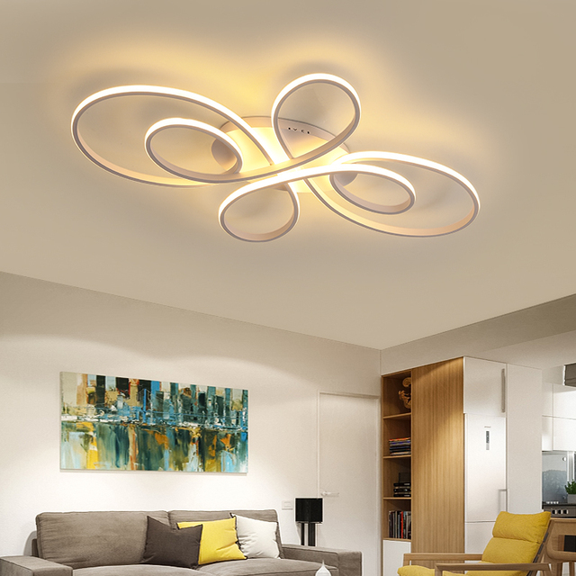 NEO Gleam New Hot RC White/Coffee Modern Led Ceiling Lights For Living Room Bedroom Study Room Dimmable Ceiling Lamp Fixtures