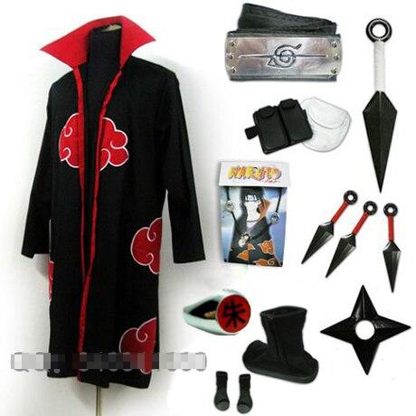 Uchiha Itachi ensemble complet de costume cosplay comprenant des chaussures + anneau + kunai + bandeau + jambe et sac de taille costume d'halloween