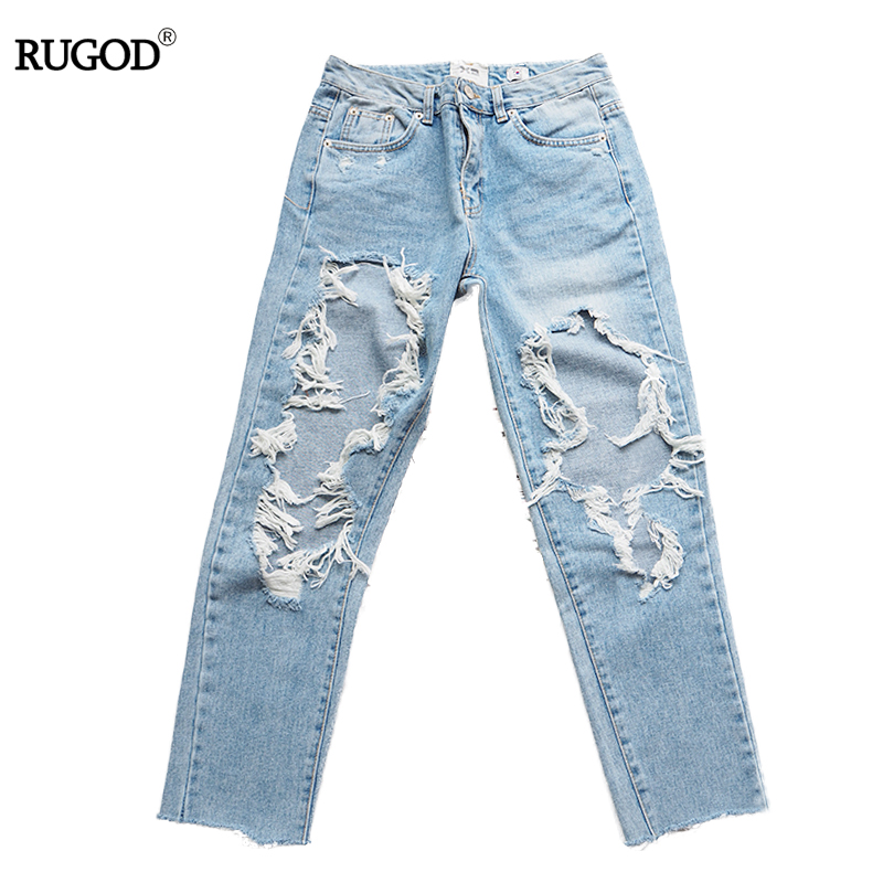 ФОТО Ripped Jeans For Women 2017 New Spring Korea High Waist Cowboy Hole Tearing Thin Wild Jeans Hollow Out jeans Pencil Pants