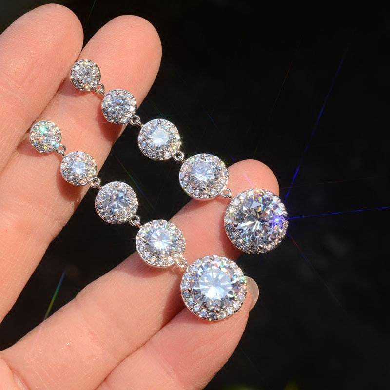Модные женские хрустальные круглые висячие серьги с AAA цирконием 925 стерлингового серебра Boho Свадебные ювелирные изделия длинные висячие серьги