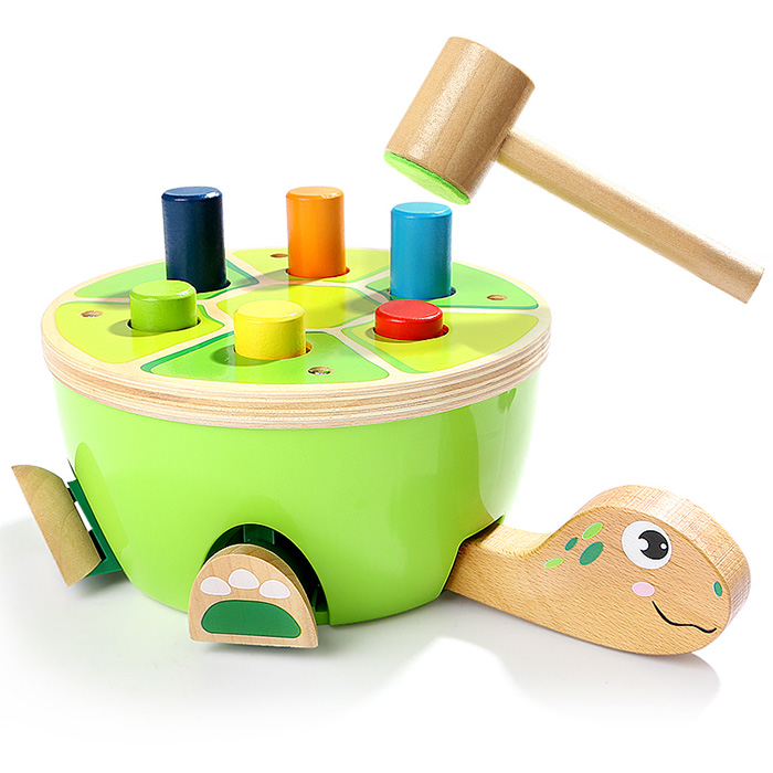 Multi Colored Wood Stakes Small Hammer Beating Turtle Piling Toy For Children Exercise Eye Hand Coordination And Imaginations
