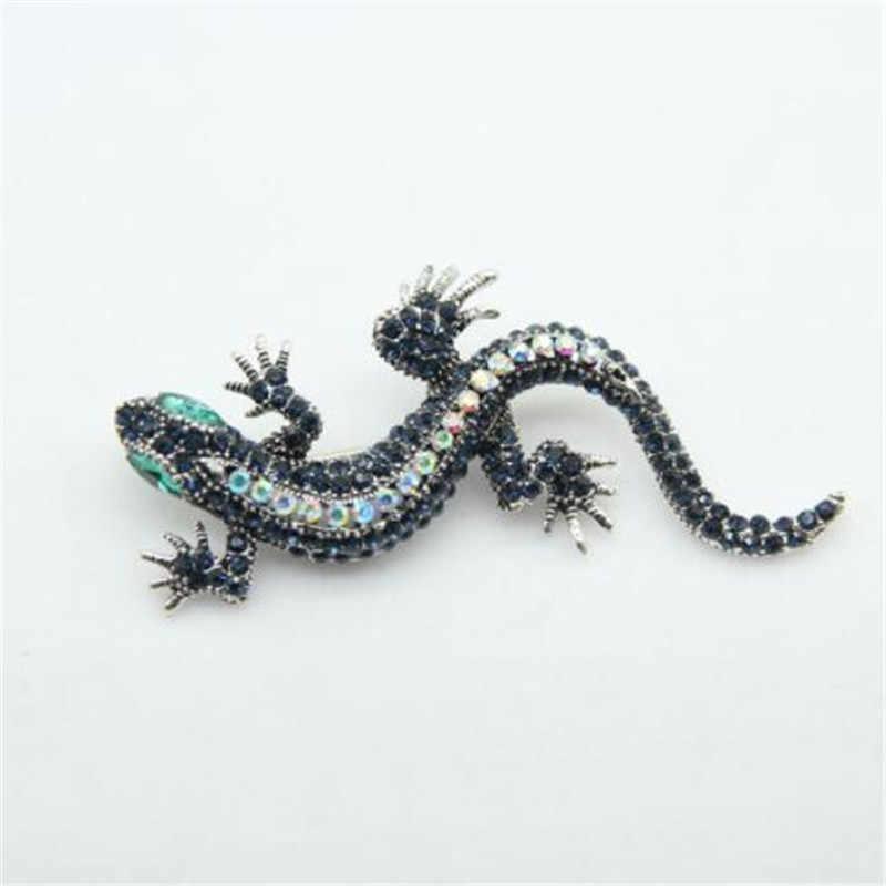 WKOUD Vivid Cristallo Vintage Lizard Gecko Spilla Antico Cristalli Colorati Strass Unico Newt Selvaggio Spille Lucertola Gioielli