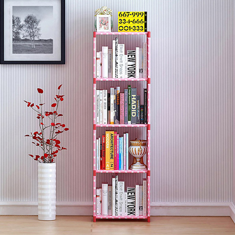 Costway fashion simple non-woven bookshelves four-layer dormitory ...