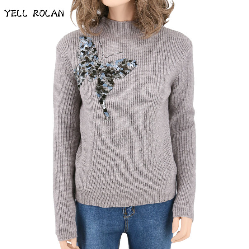 2018 New Design Spring Sweater For Women 3D Sequined Butterfly Long Sleeve Tops Embroidery Ladies Pullover Female Sequin Sweater