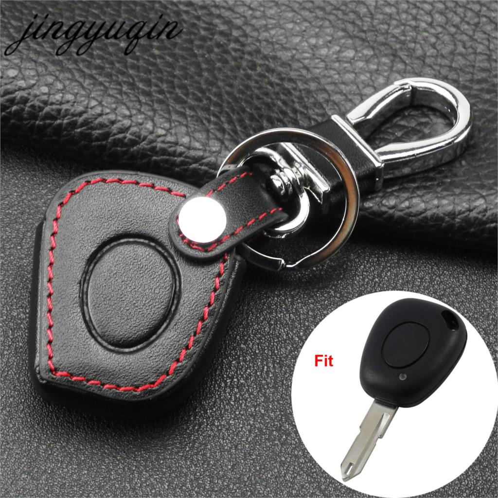 Jingyuqin 1 Button Key Leather Cover Fit For Renault Megane Clio Scenic 1 BN IR Remote Case Fob Shell Holder