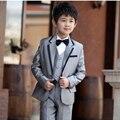 Серый Мальчик Свадебные Костюмы Мальчиков Наряд 3 шт. Заказ Мальчик смокинги