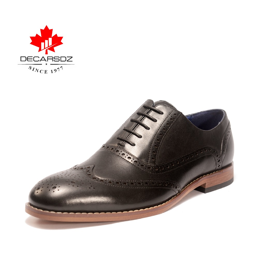 DECARSDZ Genuine Leather Dress Shoes British Gentleman Full Grain Oxford Shoes Retro Carved Wedding Shoes New
