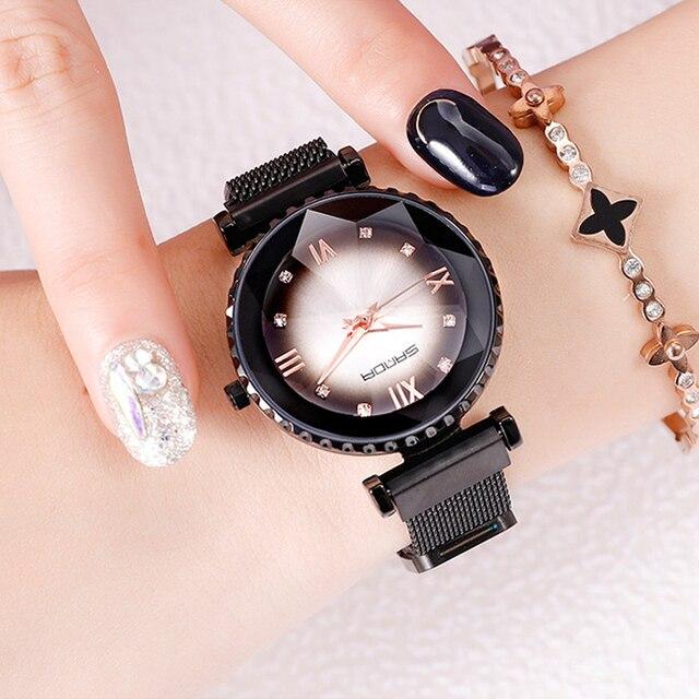 2019 Luxury Rose Gold Watch Women Magnet Steel Bracelet Quartz Lady Wrist Watch Waterproof Dress Female Clock relogio feminino