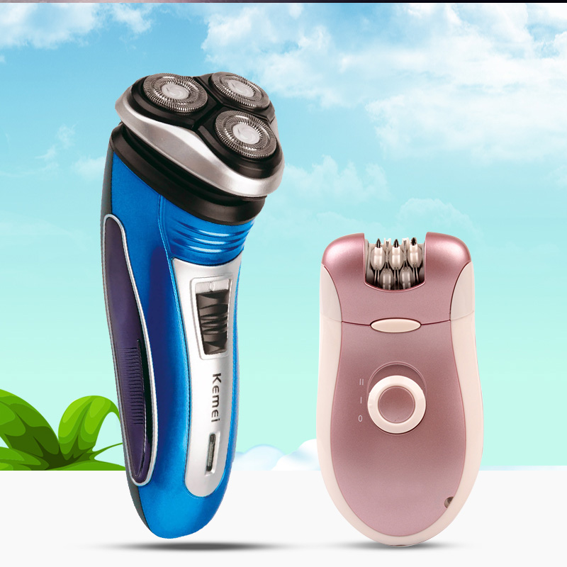 Kemei Men Electric Shaver Shaving Razor+2 In 1 Lady Shaver Epilator Bikini Trimmer Remove Hair Removal Grooming For Arm/Leg/Body kemei titanium blade electric lady wet dry shaver washable body hair trimmer removal epilator for bikini face underarm p00
