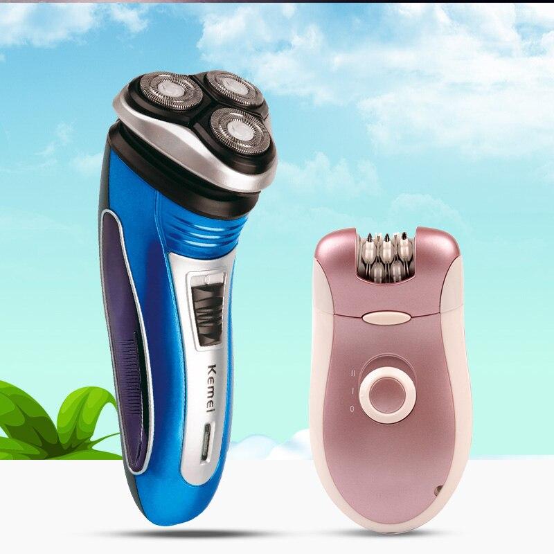 Kemei Men Electric Shaver Shaving Razor+2 In 1 Lady Shaver Epilator Bikini Trimmer Remove Hair Removal Grooming For Arm/Leg/Body