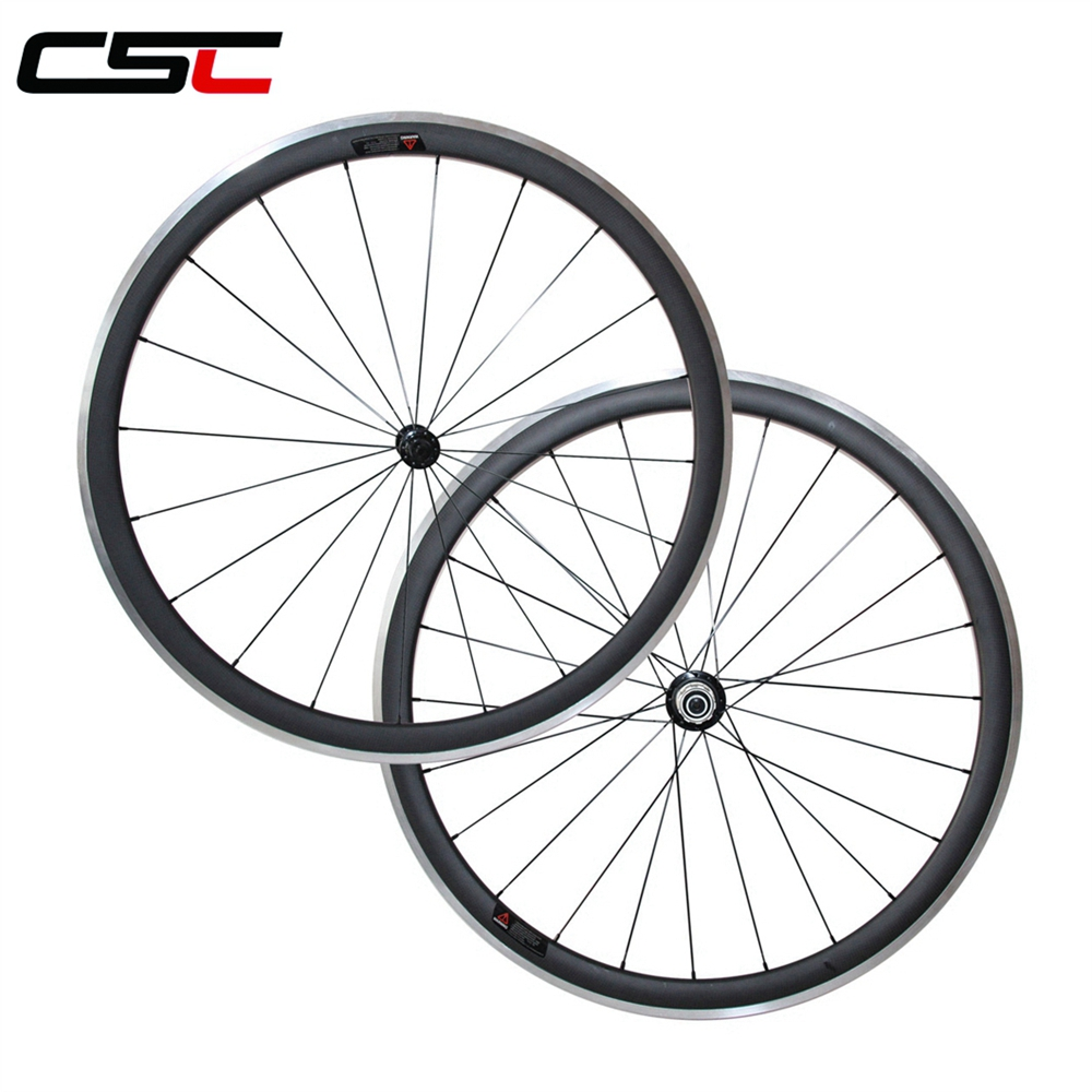 700C 38mm deep Clincher Carbon Bicycle wheelset Alloy brake surface for road bike novatec powerway R13