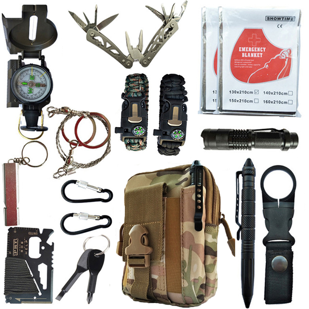 16 in 1 Outdoor survival kit Set Camping Travel First aid Supplies Tactical Multifunction SOS EDC Emergency for Wilderness tools