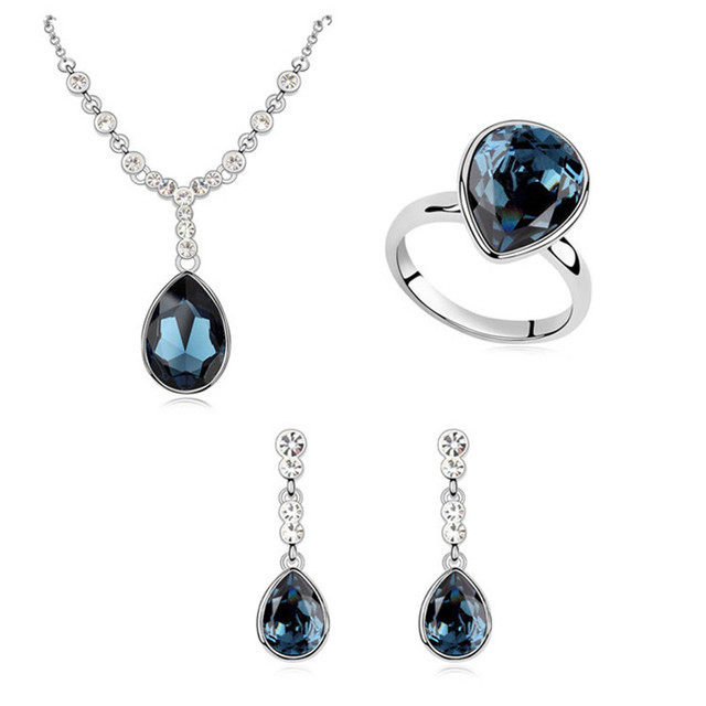Luxury Woman Jewelry Sets Genuine Crystal from Swarovski Water Drop Crystals Elements Pendant Necklace Rings Dangle Earrings Set