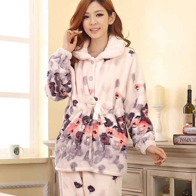 Nursing Top Autumn And Winter Flannel Pajamas Version of Ink Wash ...