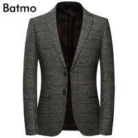 Batmo 2018 new arrival high quality cotton plaid casual gray blazer men,men's suits jackets ,casual jackets men 8163