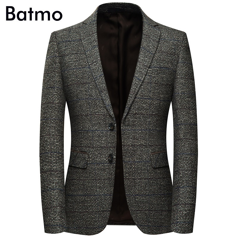 Batmo 2019 new arrival high quality cotton plaid casual gray blazer men,men's suits jackets ,casual jackets men 8163-in Blazers from Men's Clothing    1