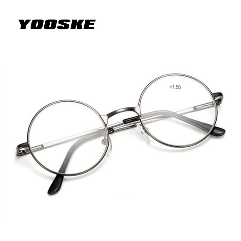 YOOSKE Reading Glasses Retro Men Women Round Mirror Metal Frame Glasses Plain Mirror Personalized + 100...+400