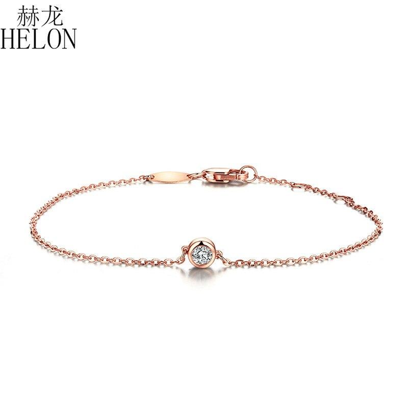 HELON Solid 18K 750 розовое золото 0.1ct F цвет Выращенный в лаборатории Муассанит алмазный браслет Тест Положительный для женщин модный стиль ювелирные изделия