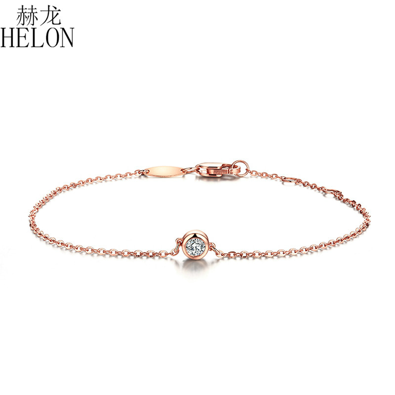 HELON Solid 18K 750 Rose Gold 0.1ct F Color Lab Grown Moissanite Diamond Bracelet Test Positive For Women Trendy Style Jewelry
