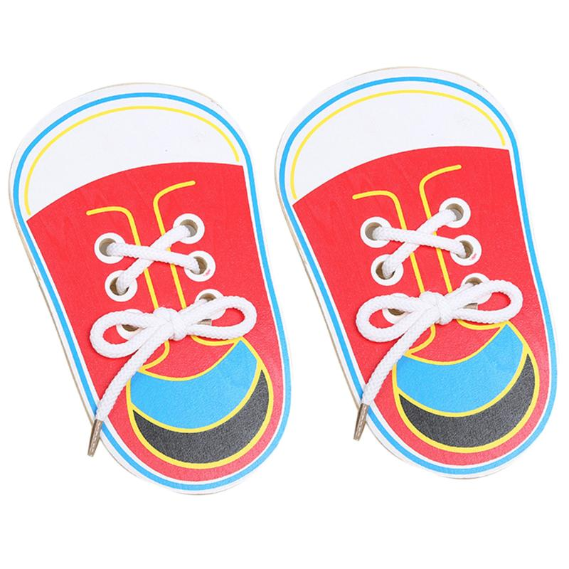 1 Pair Wooden Lacing Shoes Toddler Toys Kids Teaching Tie Shoelaces Toy Early Educational Kid Child Children Gift Present