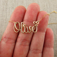 Silver Custom Name Necklace 14K Gold Sterling Wire Personalized Any Word Name Bride Birthstone Bridesmaid Necklace