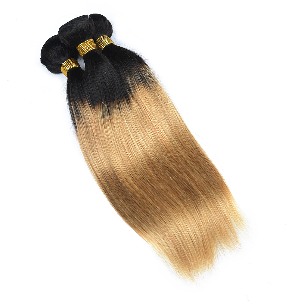LINLIN Hair Pre-colored Ombre Blonde Indian Straight Hair Weave 3 Bundles 1b/27 Non Remy Indian 100% Human Hair Rollers malaysian deep wave human hair extension virgin hair weave 3 bundles for black women wet and wavy human hair bundles sewin weave