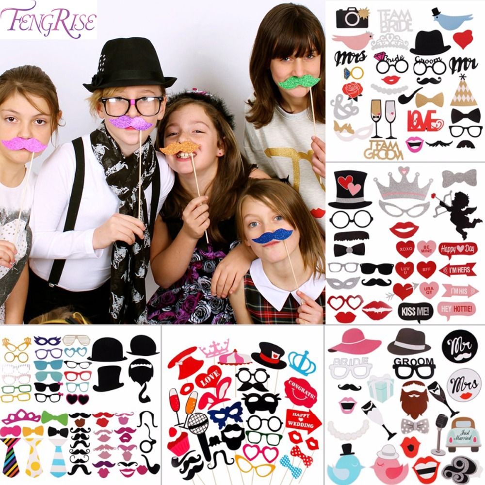 FENGRISE үйлену безендіру Fun Photobout Props Фотобюшкой Happy Birthday Kid Flamingo DIY Mr Mrs Glasses Party Accessories