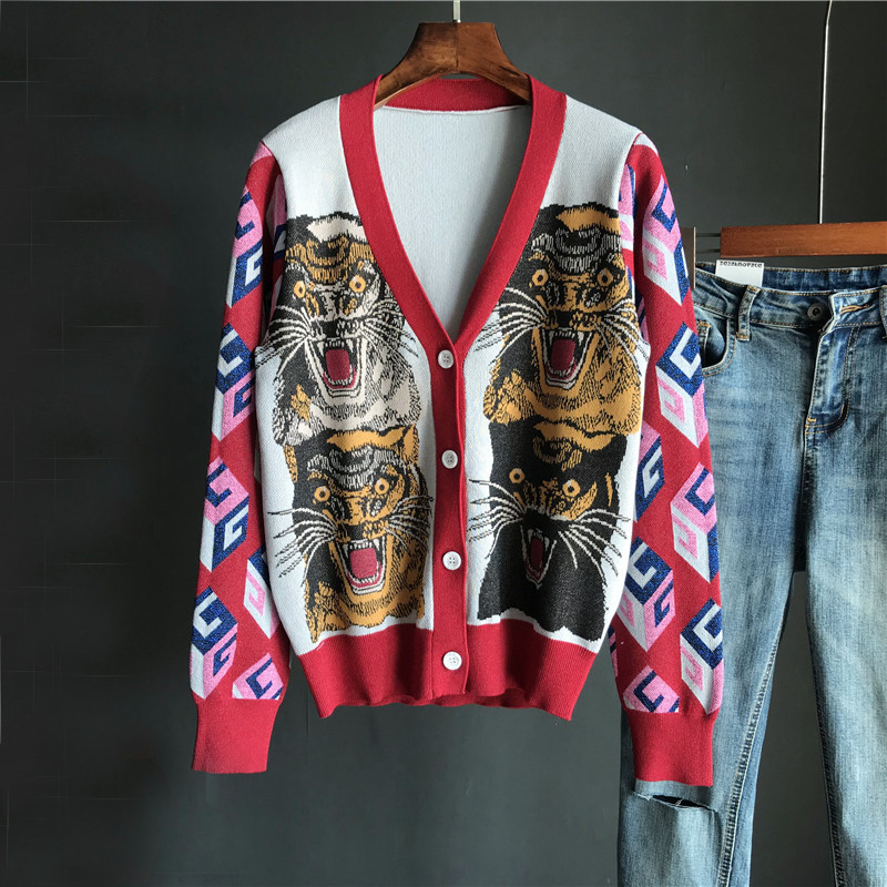 Fashion Spring and autumn Women Cardigan Sweater Long sleeve Single breasted V neck stitching Tiger pattern Knitted top clothing