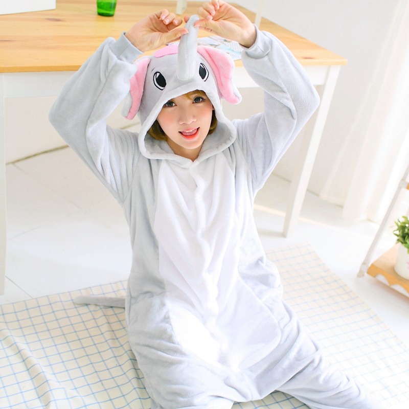 Grey Elephant Pajama Set Women Men Unisex Adult Animal Pijama Flannel Onesie Cosplay Sleepwear Hoodie Halloween Holiday Costume