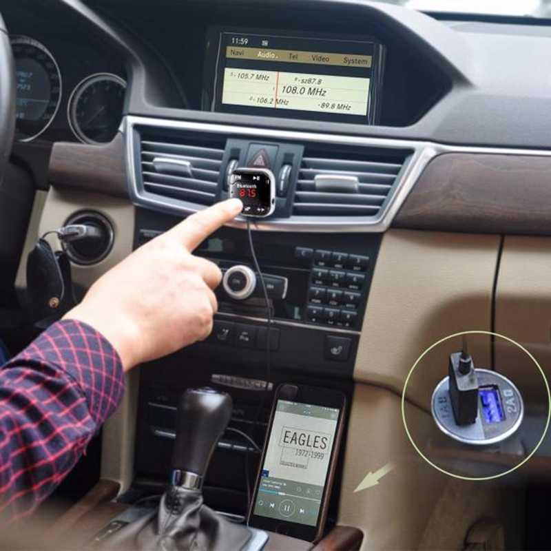 A2DP カーキットワイヤレス Bluetooth FM トランスミッタ MP3 プレーヤー 3.5 ミリメートルオーディオ AUX TF カードスロット + デュアル USB 車充電器 + 磁気ステッカー