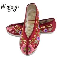Vintage Embroidery Women Flats Shoes Chinese Wedding Beijing Satin Embroidered National Breathable Dance Single Ballet Shoes