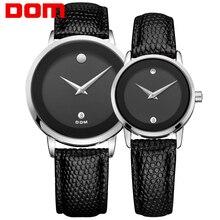 Пару часов DOM Роскошные брендовые водонепроницаемые стиль кварцевые часы, золотые часы MS-375-1M + GS-1075-1M
