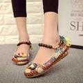 Más size42 Casual Zapatos Planos de Las Mujeres Pisos Mocasines Hechos A Mano Con Cuentas Correas Del Tobillo Zapatos Mujer Retro Zapatos Bordados Étnicos O916
