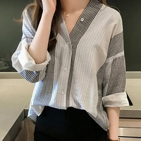2019 Ladies Office Blouses Top Women Striped Long Sleeve Blouse Shirt Female Blusas Blouses