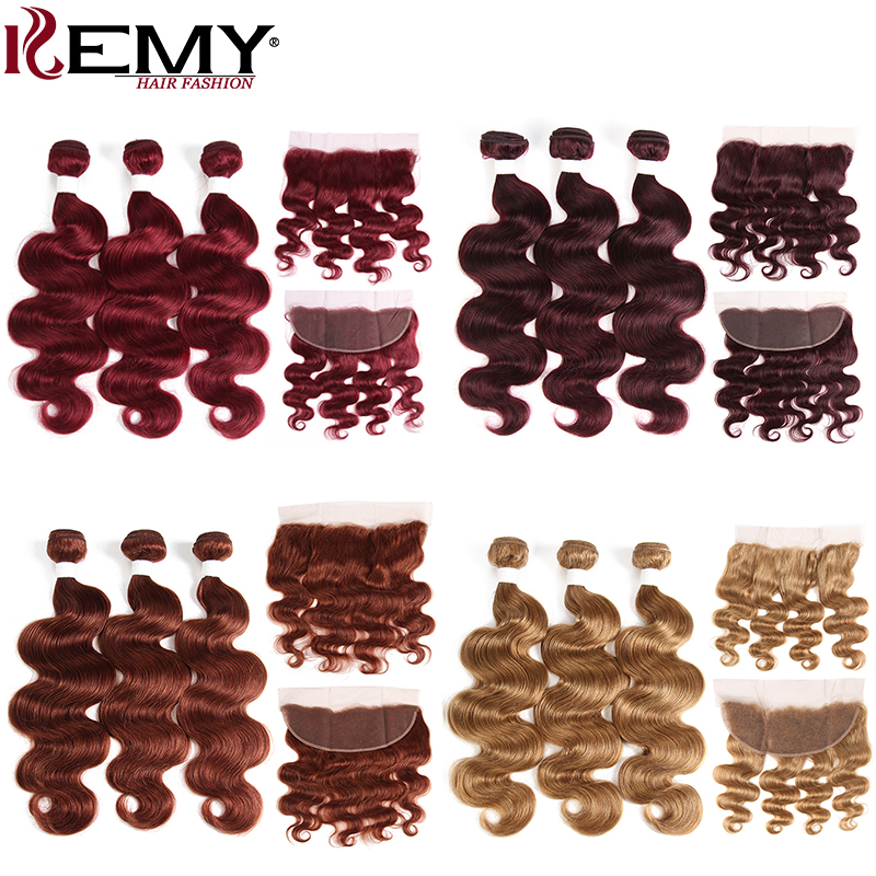 99J Burgundy Red Color Human Hair Bundles With Frontal KEMY HAIR Brazilian Body Wave Hair Weave