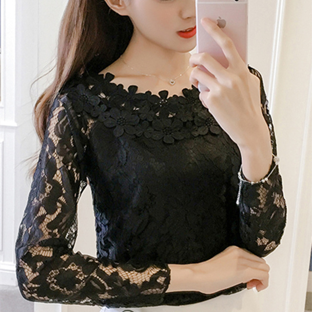 295d98774221d 2017 Autumn Korean Women Lace Blouse crochet Hollow Out Long Sleeve Casual Shirt  Chiffon Blouse Female Lace Tops White Black