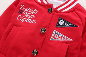 Image 2 - 2020 חדש אדום ילד בגדי 100% כותנה מעיל + מכנסיים + תינוק romper סתיו חורף סטי 6 ~ 24 חודשים בגד גוף תינוקות בני סטי בגדים