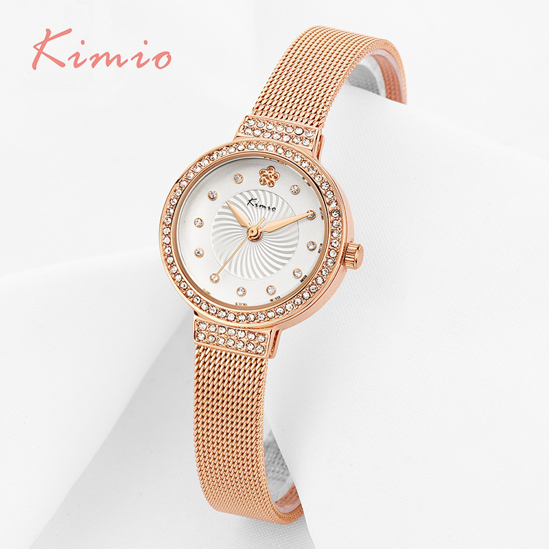 KIMIO Plum Flower Rhinestone Gold Small Dial Weaving Mesh Alloy Strap Women Watches 2017 Famous Brand Quartz Watch Clock Women kimio exquisite zircon small dial hand chain bracelet watch strap rose gold quartz watch women clock womens watches top brand
